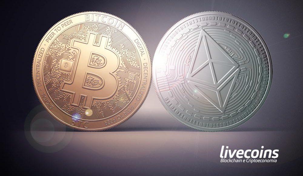 Criptomoeda Bitcoin (BTC) e Ethereum (ETH)