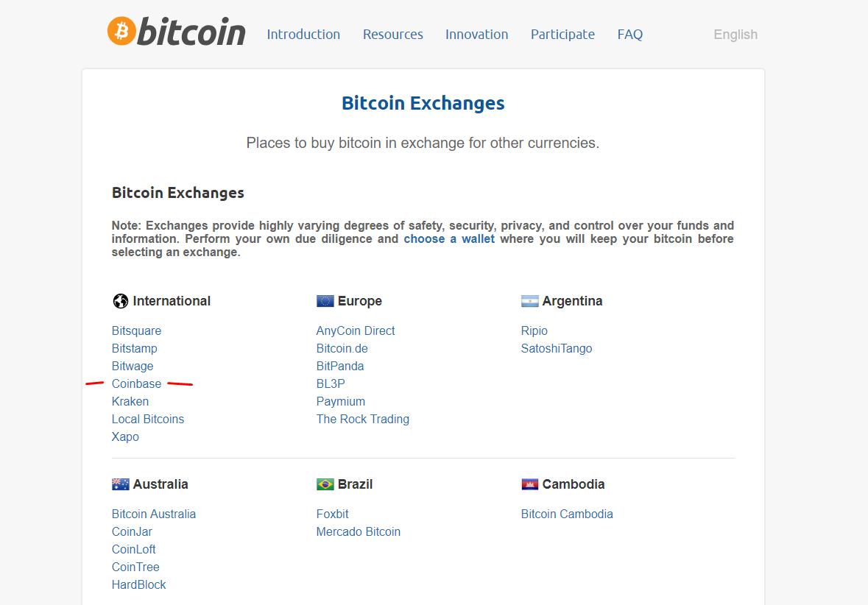Site antigo do bitcoin.org listando a Coinbase na lista de exchanges . Imagem: Internet Archive, Julho 2017