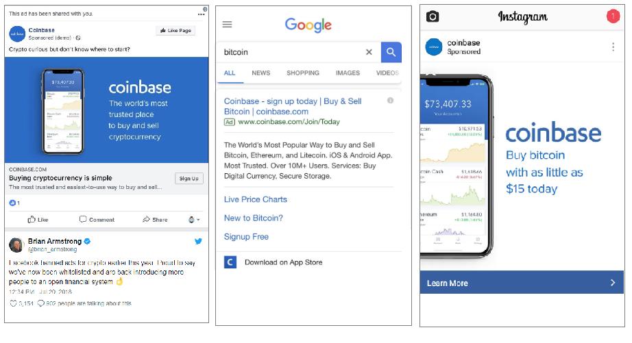 Anúncios da Coinbase sendo exibidos no facebook, google e instagram.