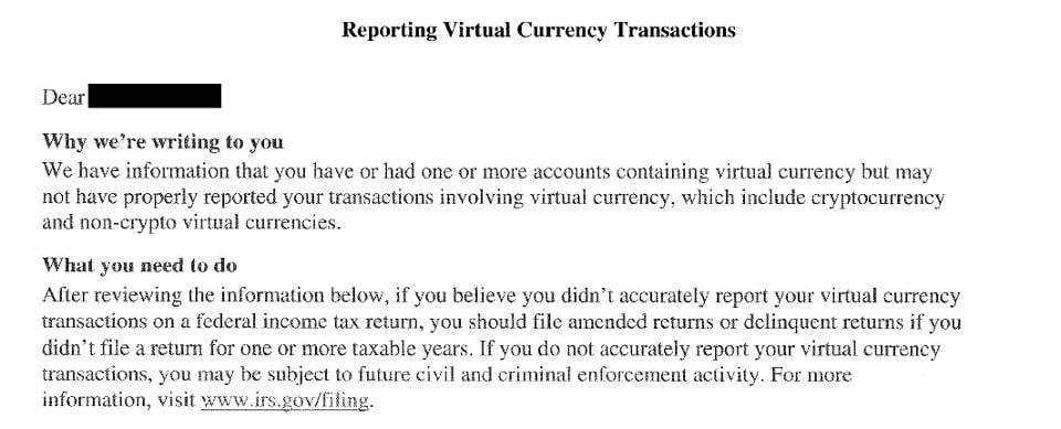 CARTA IRS investidores bitcoin