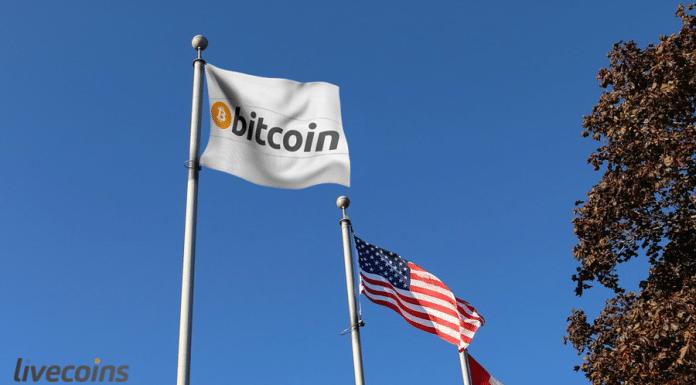 Bandeira Bitcoin e EUA
