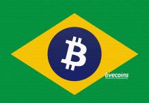 Bandeira do Brasil com Bitcoin