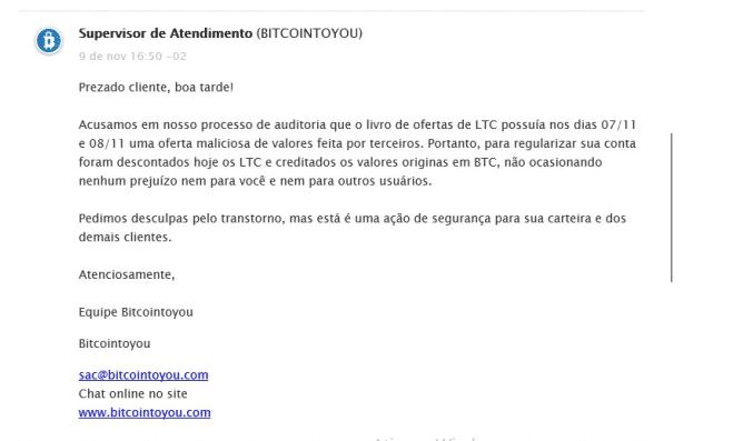Aviso de cancelamento de ordem emitido pela plataforma BitcointoYou