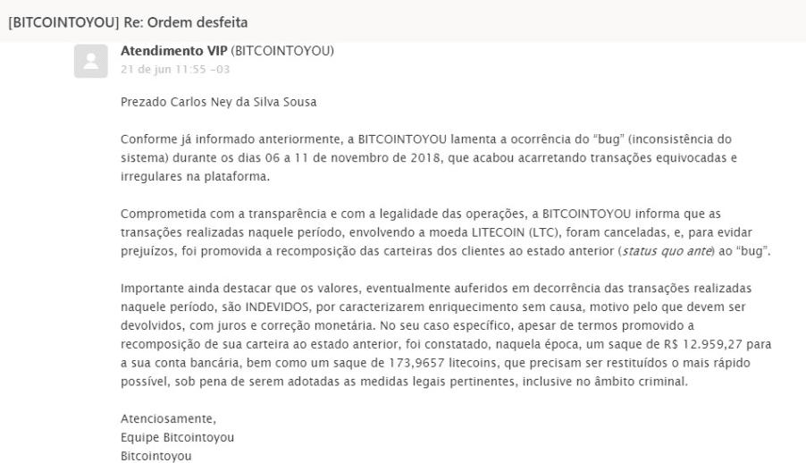 Mensagem da BircointoYou que, segundo trader, faz cobrança indevida em reais e LTCs