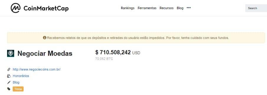 CMC alerta usuários sobre empresa do Grupo Bitcoin Banco