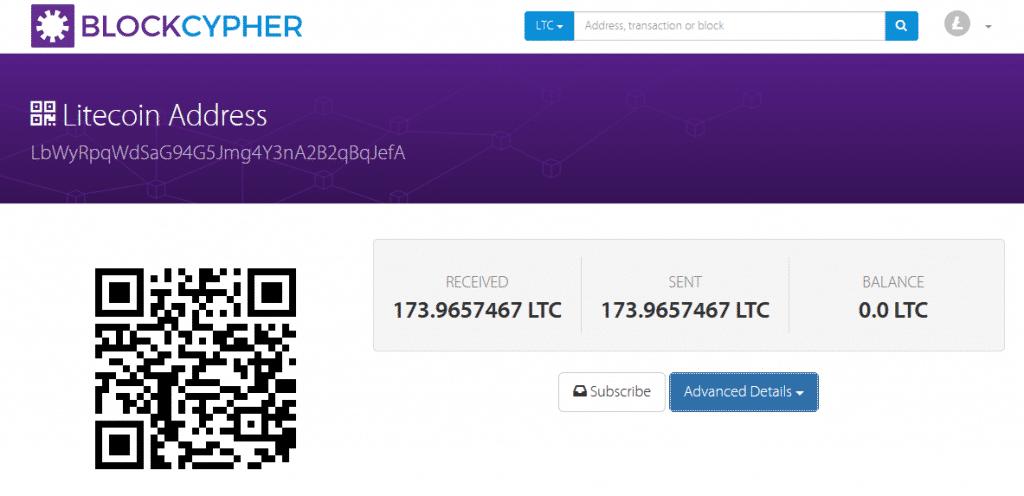 Transação em endereço de origem mostrando entrada e saída totais de 173 LTCs