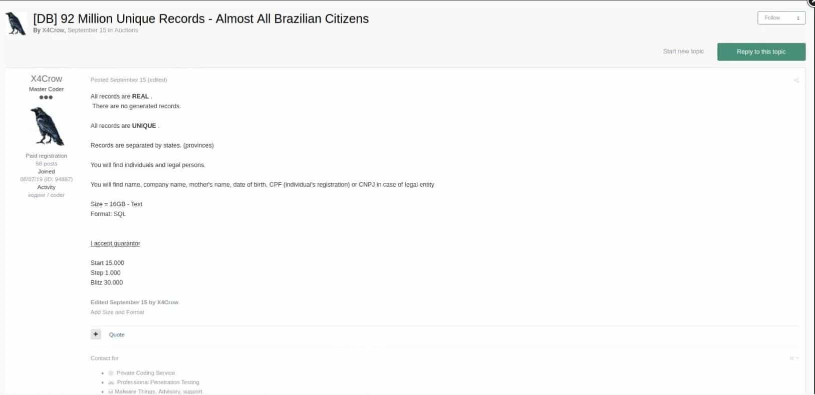 X4crow leiloando dados de brazileiros em fórum na dark web