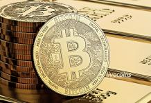 Monte de Bitcoin em cima de Pepitas de Ouro