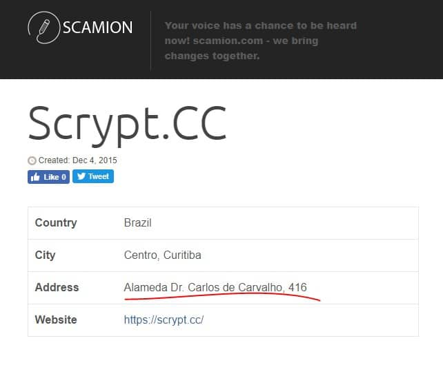 Scamion, site anti golpes. http://www.scamion.com/scrypt-cc-39
