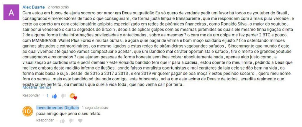 Post de internauta acusando Ronaldo Silva de ter incentivado investimentos na MMM Brasil