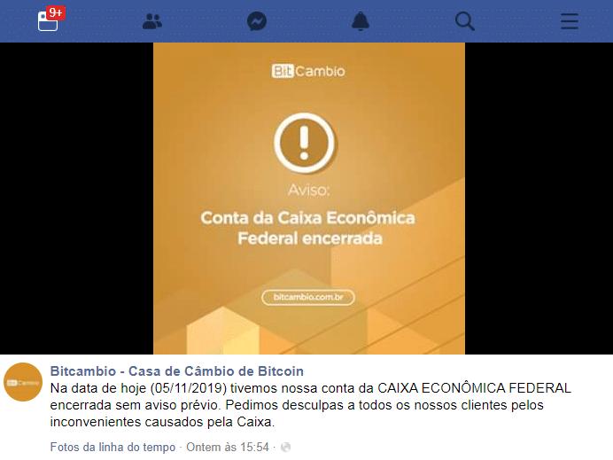 Comunicado no Facebook da BitCâmbio informando sobre o fechamento de sua conta pela Caixa