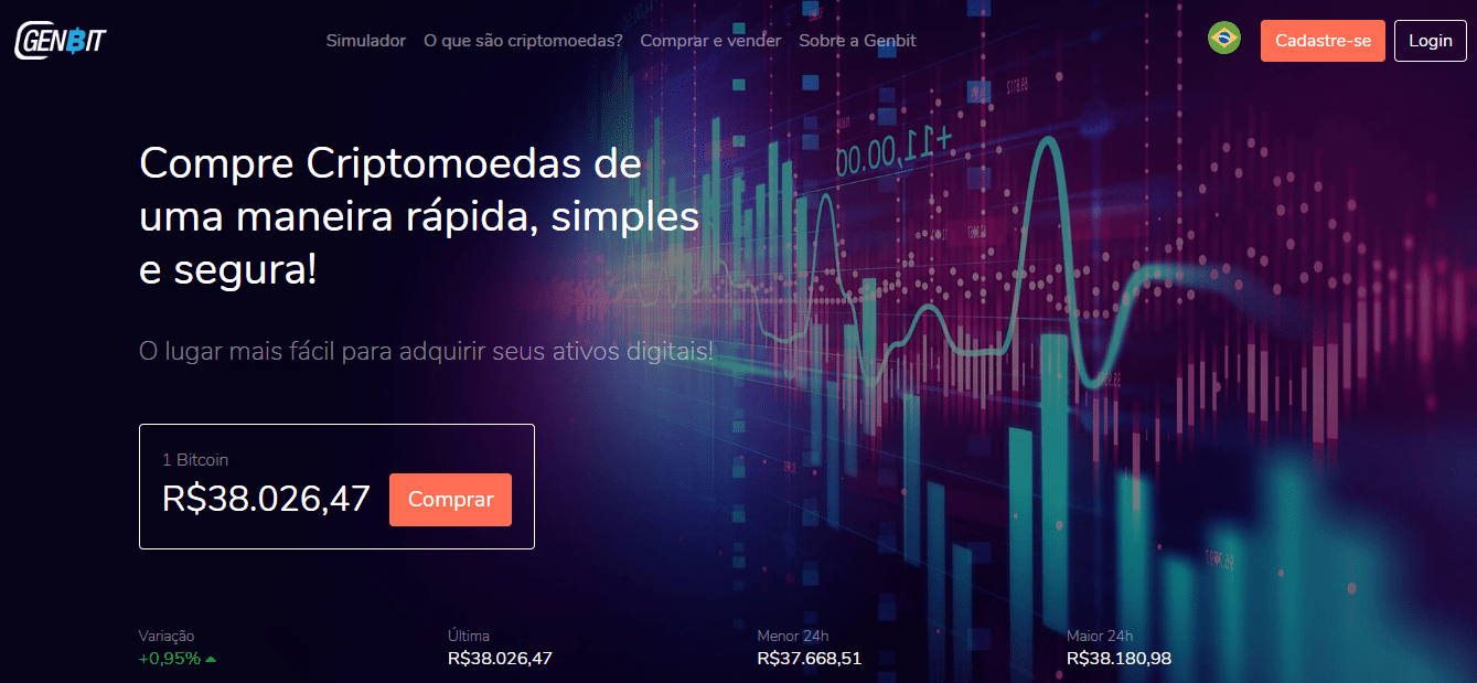 Capa do site da Genbit, que, segundo a CVM, é só nome fantasia da empresa Zero10 Club, proibida de atuar no Brasil