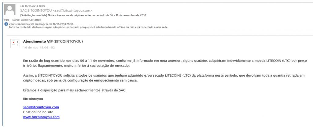 "Resposta da BitcoinToYou sugere que trader comprou LTCs ""indevidamente"""