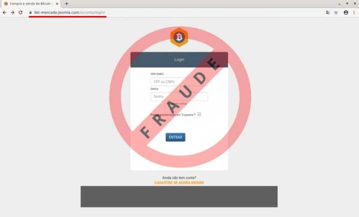 Site falso da maior corretora de Bitcoin do Brasil tenta roubar informações de clientes