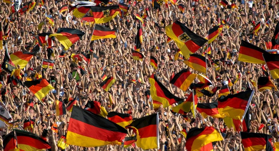 Crowd with German flags