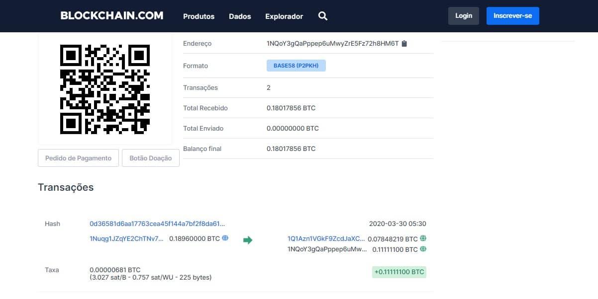 Endereço Bitcoin usado por hackers