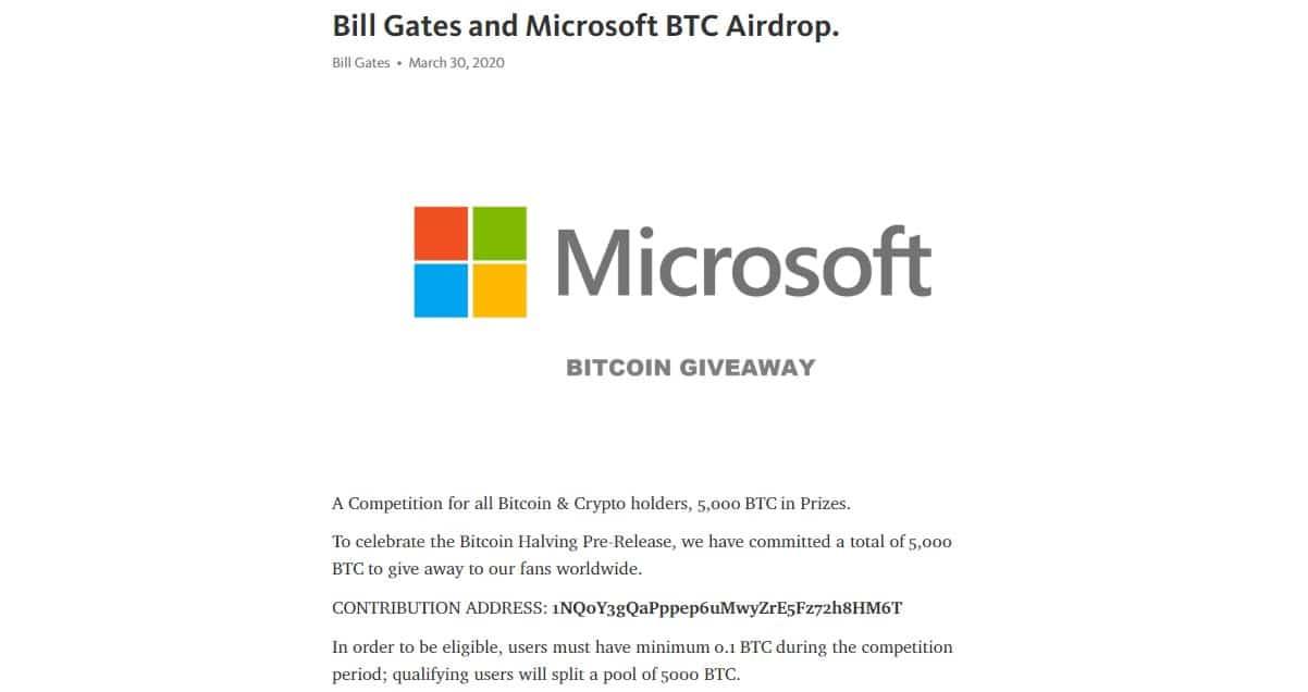 Microsoft não está oferecendo prêmio em Bitcoin, golpe