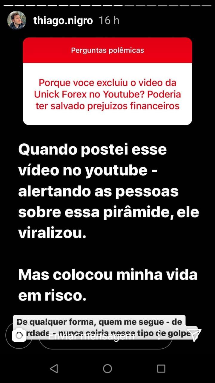 Pergunta Polêmica, Primo Rico fala sobre porque excluiu vídeo de Unick Forex