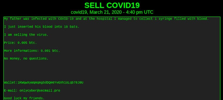 Vendedor DarkWeb vende sangue infectado com covid19