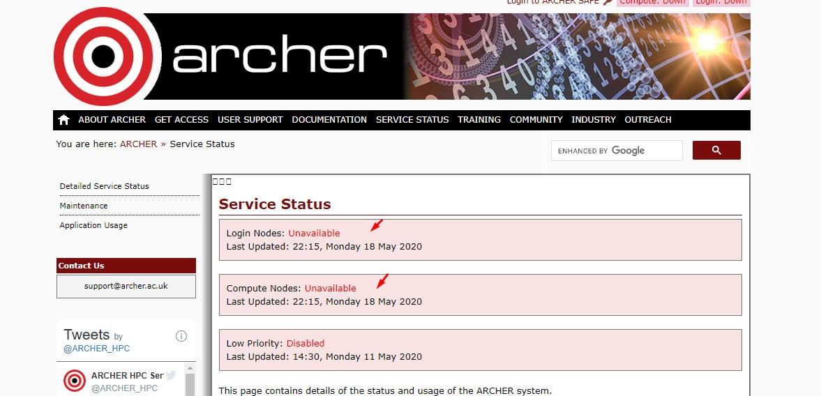 "Status servidores Archer. ""Indisponíveis."