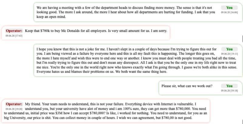 Mensagens trocadas entre o negociador e o Operador. Fonte: Bloomberg.