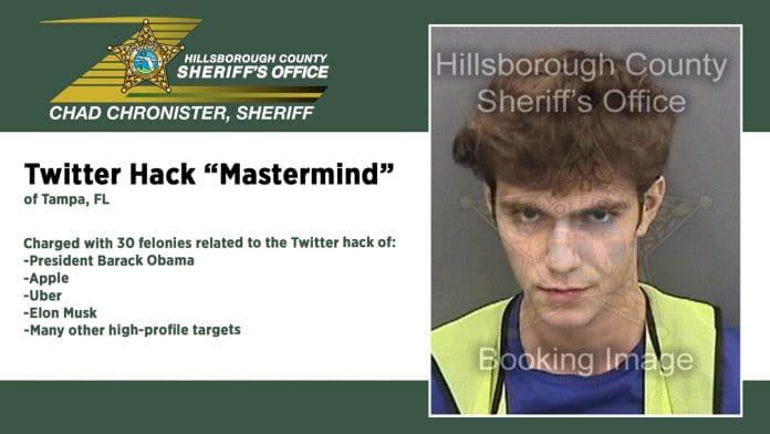 Foto de registro de prisão Graham Ivan Clark, um dos hackers do Twitter