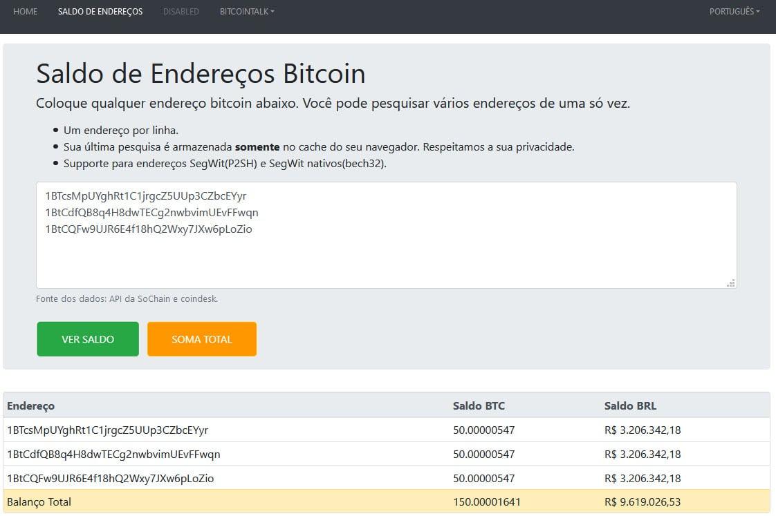 Tela do verificador de saldo de endereços bitcoin