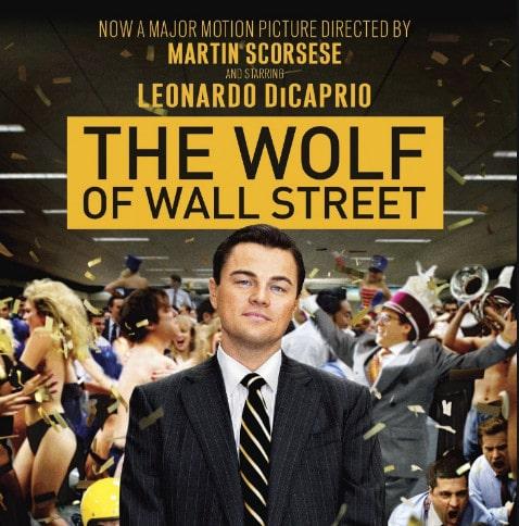 Leonardo DiCaprio como Jordan Belfort no filme O Lobo de Wall Street