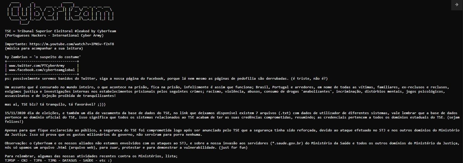 Mensagem CyberTeam hack TSE