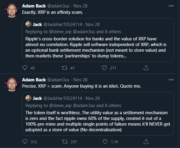 Adam Back XRP Scam