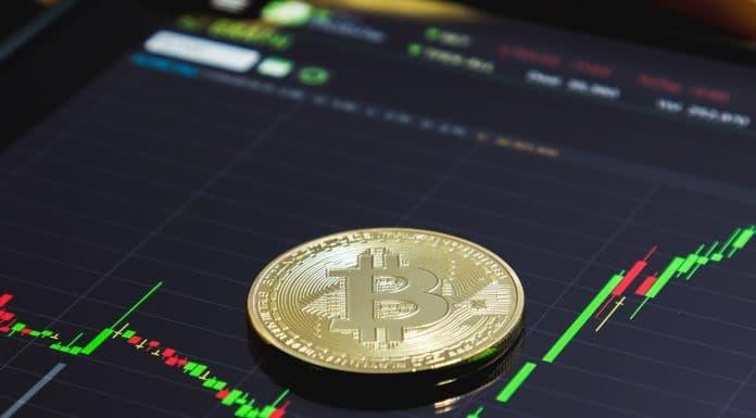 Gráfico do Bitcoin com preço em crescimento alta