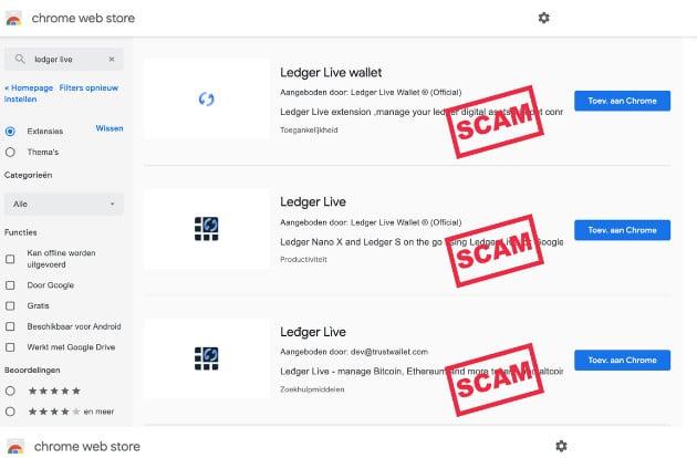 Ledger Scam Chrome Web Store