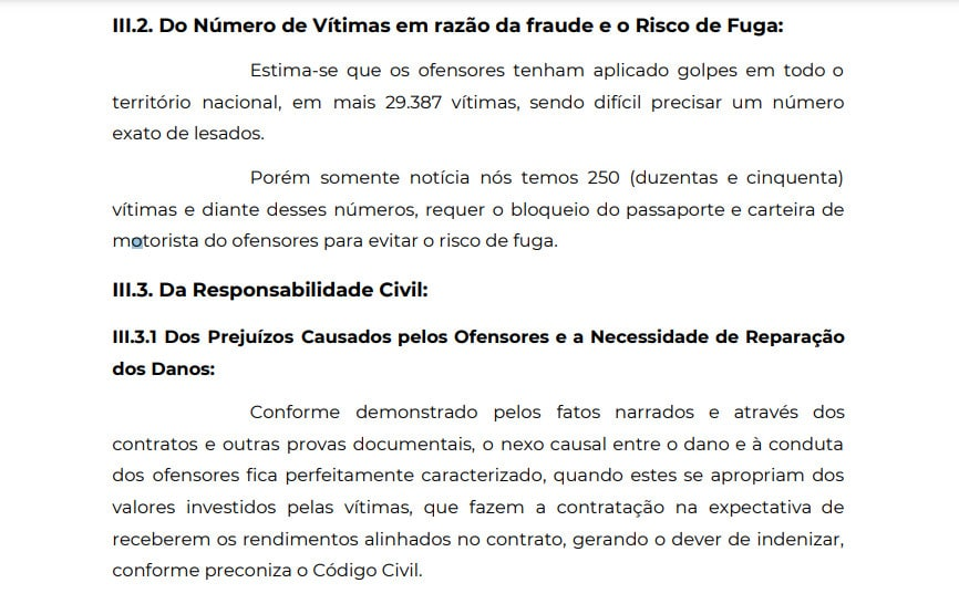 Trecho de Queixa-Crime apresentado ao DECON contra a CJS Trader