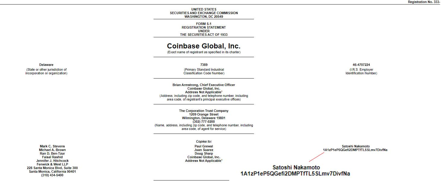 Public Coinbase listing document sent to different entities, including Satoshi Nakamoto.