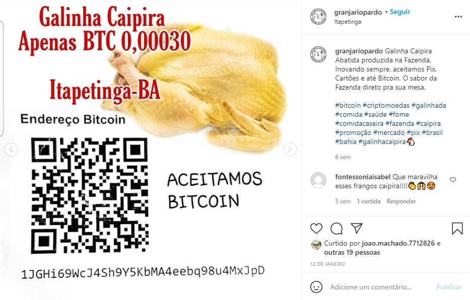 Announcement of Bitcoin Chicken Sale at Rio Pardo Farm - Reproduction / Instagram