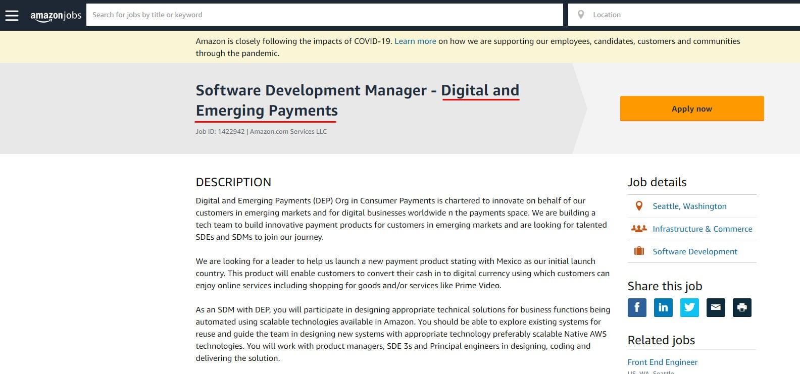 Amazon Digital Currency Vacancy Jobs