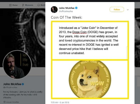 McAfee Dogecoin coin of the day