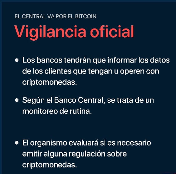 The Central Bank of Argentina (BCRA), the largest financial authority that governs the country's monetary policy, ordered Argentine commercial banks to account for customers that carry out transactions with Bitcoin or other cryptocurrencies.