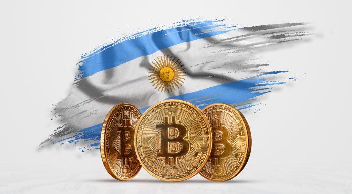 Bitcoin e bandeira da Argentina stablecoin criptomoedas blockchain