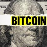 dolar rasgado e Bitcoin. Imagem: ShutterStock