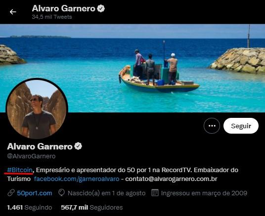 Alvaro Garnero colocou o Bitcoin em sua biografia pelo Twitter, onde tem 500 mil seguidores