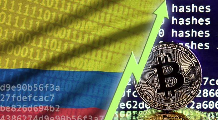 Bandeira da Colômbia, código de software e símbolo do Bitcoin