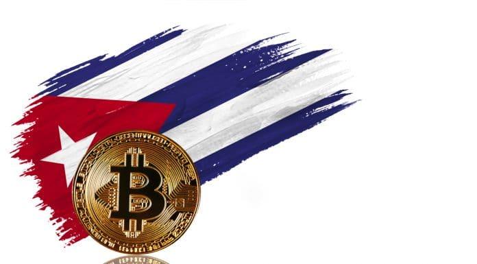 Bitcoin e bandeira de Cuba