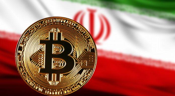 Bitcoin e bandeira do Irã