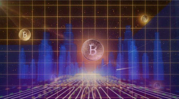 Bitcoin em meio a prédios virtuais companhias comprar
