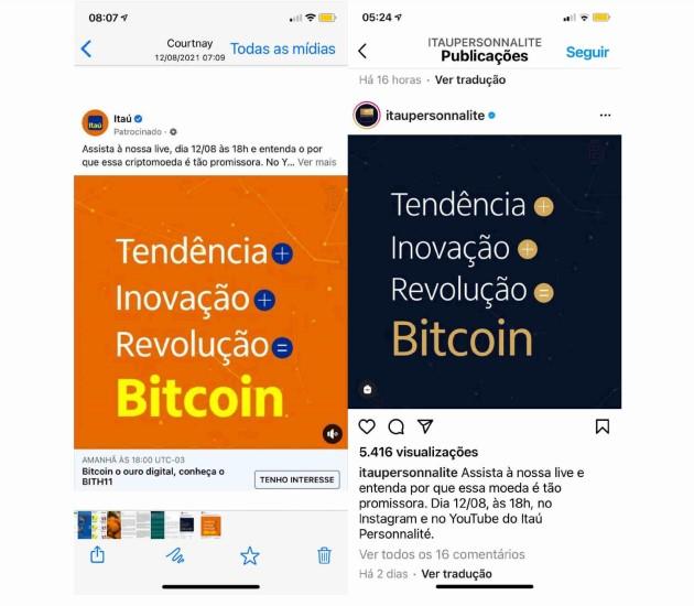 Capturas de telas de ofertas de investimentos com Bitcoin pelo Itaú