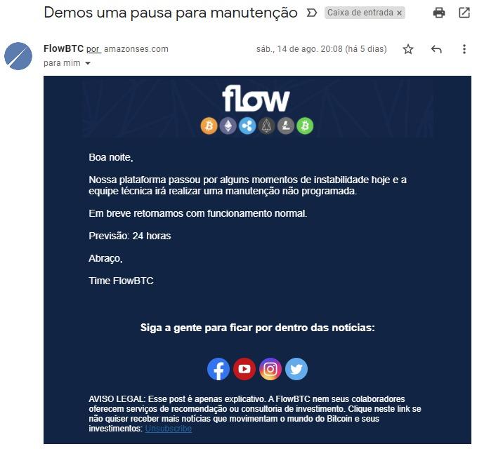 FlowBTC passou por momentos de instabilidade e entrou em processo de manutenção tentativa ataque