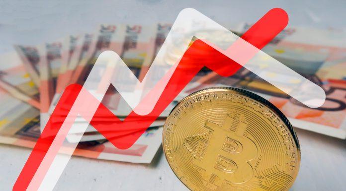 Gráficos de preços do Bitcoin com interseção