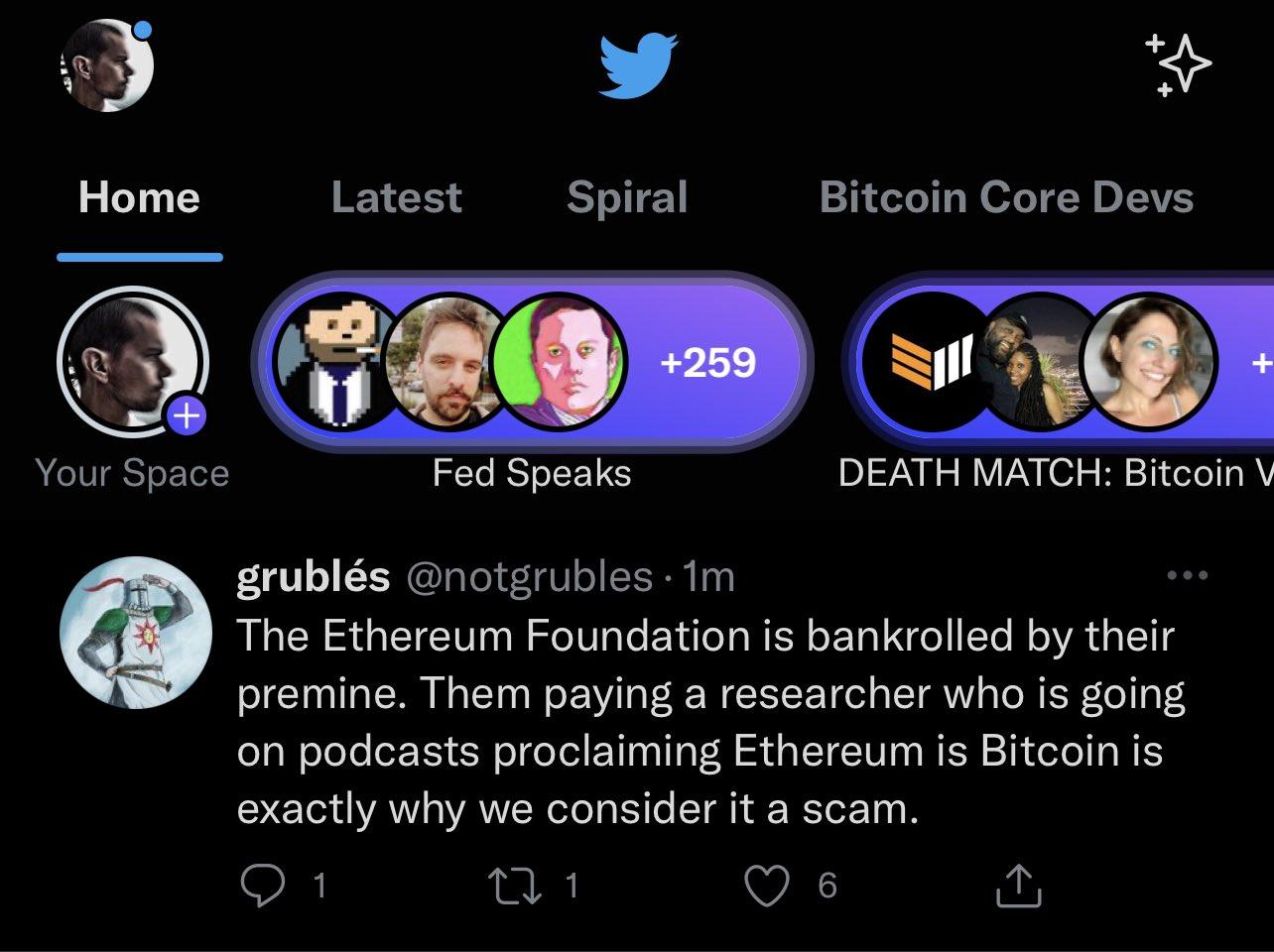 Jack compartilhou um print de sua tela onde tem uma mensagem que ataca o Ethereum